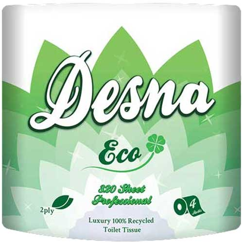 bulk buy 320 Sheet Toilet Rolls 2ply White Desna Eco