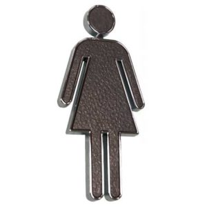 Black & Chrome Rectangle Ladies Sign, ABS Plastic. WR-SIGN-LADES-3