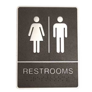 Black & Chrome Rectangle Restrooms Sign, ABS Plastic. WR-SIGN-RESTROOMS-3