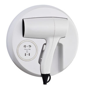 Hair Dryer Wall Drawer Mounted with Shaver Socket Plastic White
