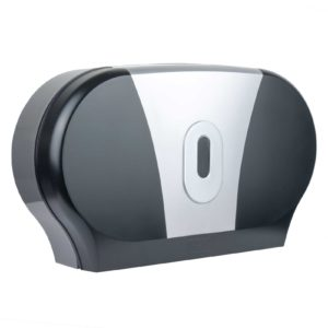 Toilet Roll Dispenser Twin Mini Jumbo Black Silver, WR-CD-8012