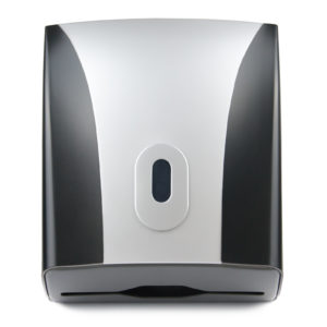Compact Paper Hand Towel Dispenser, ABS Plastic Black/Silver, WR-CD-8228D
