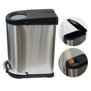 Pedal Bin 40ltr Soft Close Push Stainless Steel Black, WR-EK9248MT-40L