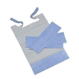 Bibs with Ties, Disposable Large (White/Blue) 600's