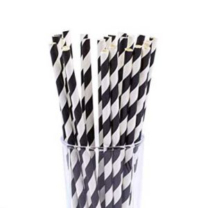"8"" Black & White Paper Straws 250's"