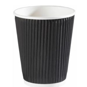 Hot Drink Cup Black Ripple Wall 12oz x500