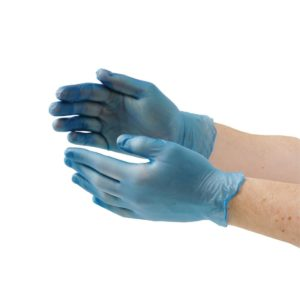 Vinyl Powder Free Gloves Blue Large 100's