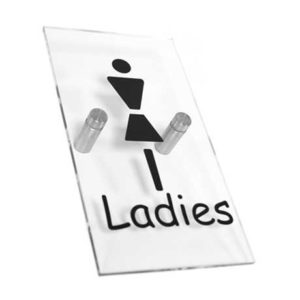 Clear Acrylic Ladies Toilet Sign WR-SIGN-LADIES-1