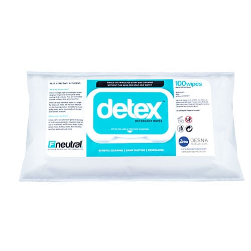 Detex Neutral Detergent Water Wipes - 12 x 100