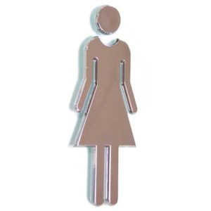 Chrome Ladies Toilet Sign, ABS Plastic, WR-SIGN-LADIES-4