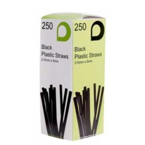 "Straws 8"" Black Bendy 250's 5mm x 210mm"
