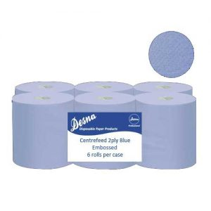 Bulk Buy 500 sheet Centrefeed Blue 2ply Embossed